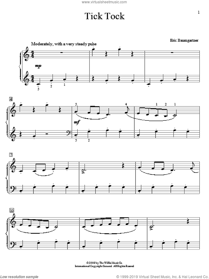 Tick Tock sheet music for piano solo (elementary) by Eric Baumgartner, classical score, beginner piano (elementary)