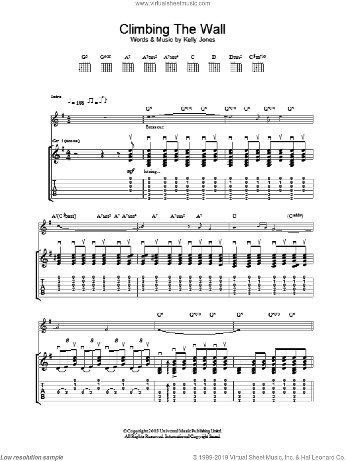 Climbing The Wall sheet music for guitar (tablature) by Stereophonics, intermediate. Score Image Preview.