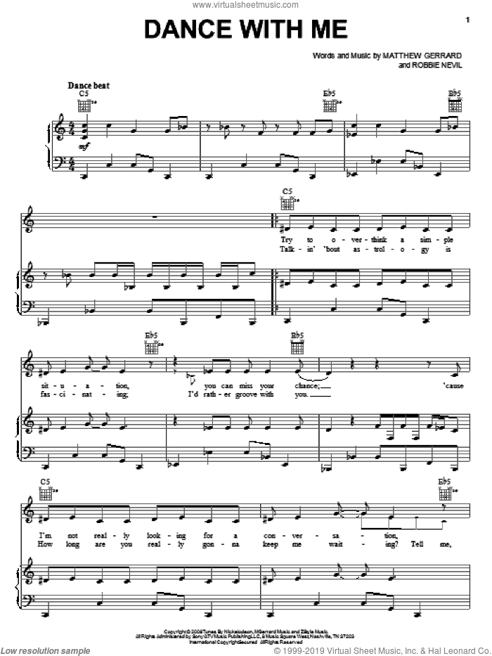Dance With Me sheet music for voice, piano or guitar by Robbie Nevil and Matthew Gerrard. Score Image Preview.