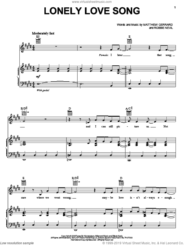 Lonely Love Song sheet music for voice, piano or guitar by Spectacular! (Movie), Matthew Gerrard and Robbie Nevil. Score Image Preview.