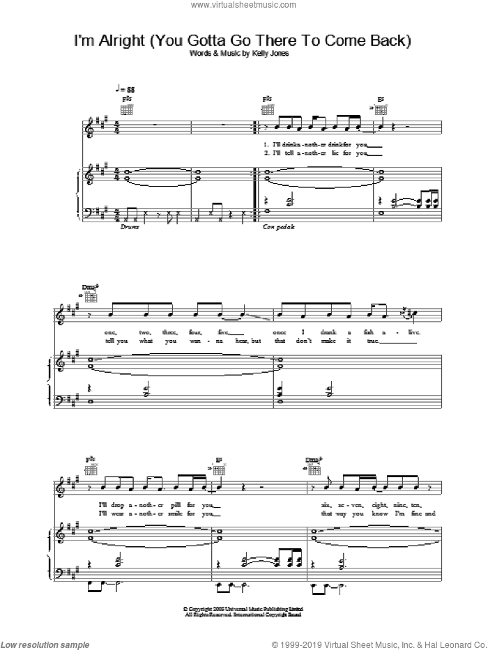 I'm Alright (You Gotta Go There To Come Back) sheet music for voice, piano or guitar by Stereophonics, intermediate voice, piano or guitar. Score Image Preview.