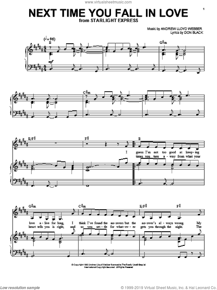 Next Time You Fall In Love sheet music for voice and piano by Andrew Lloyd Webber and Don Black, intermediate skill level