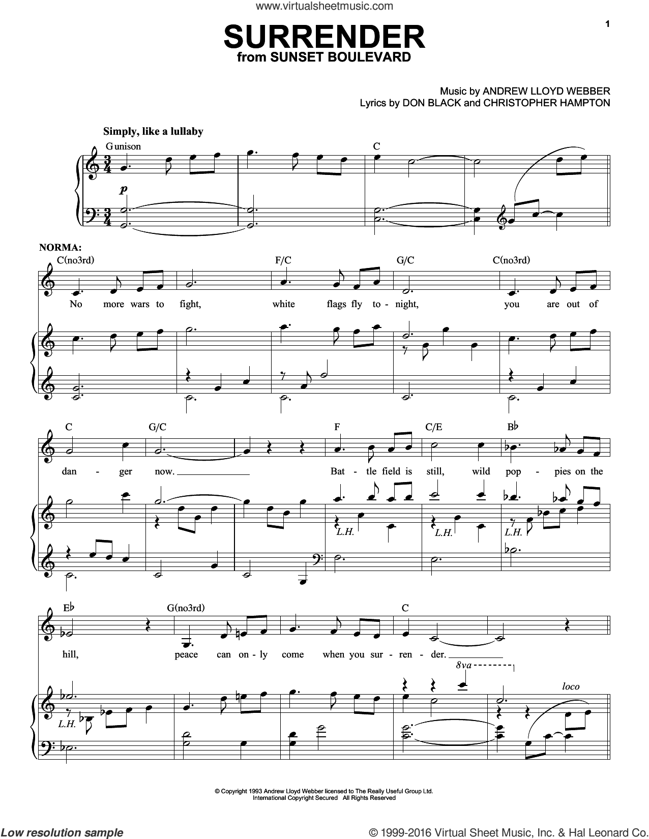 Surrender sheet music for voice and piano by Don Black, Andrew Lloyd Webber and Christopher Hampton. Score Image Preview.