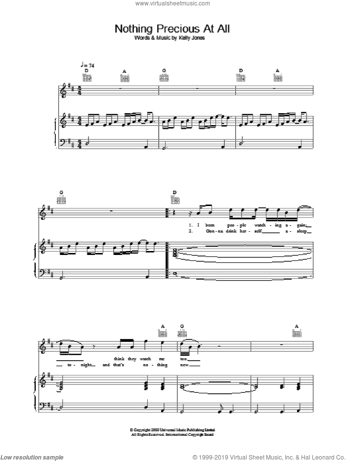 Nothing Precious At All sheet music for voice, piano or guitar by Stereophonics. Score Image Preview.