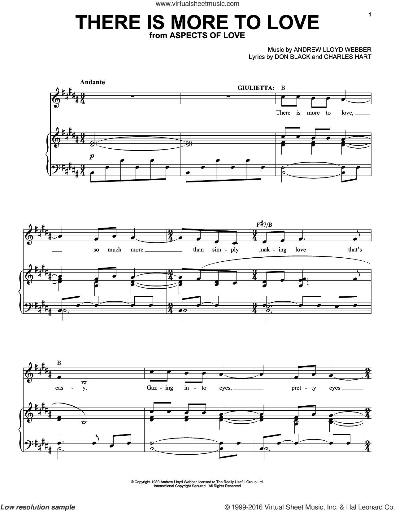 There Is More To Love sheet music for voice and piano by Andrew Lloyd Webber and Don Black, intermediate. Score Image Preview.