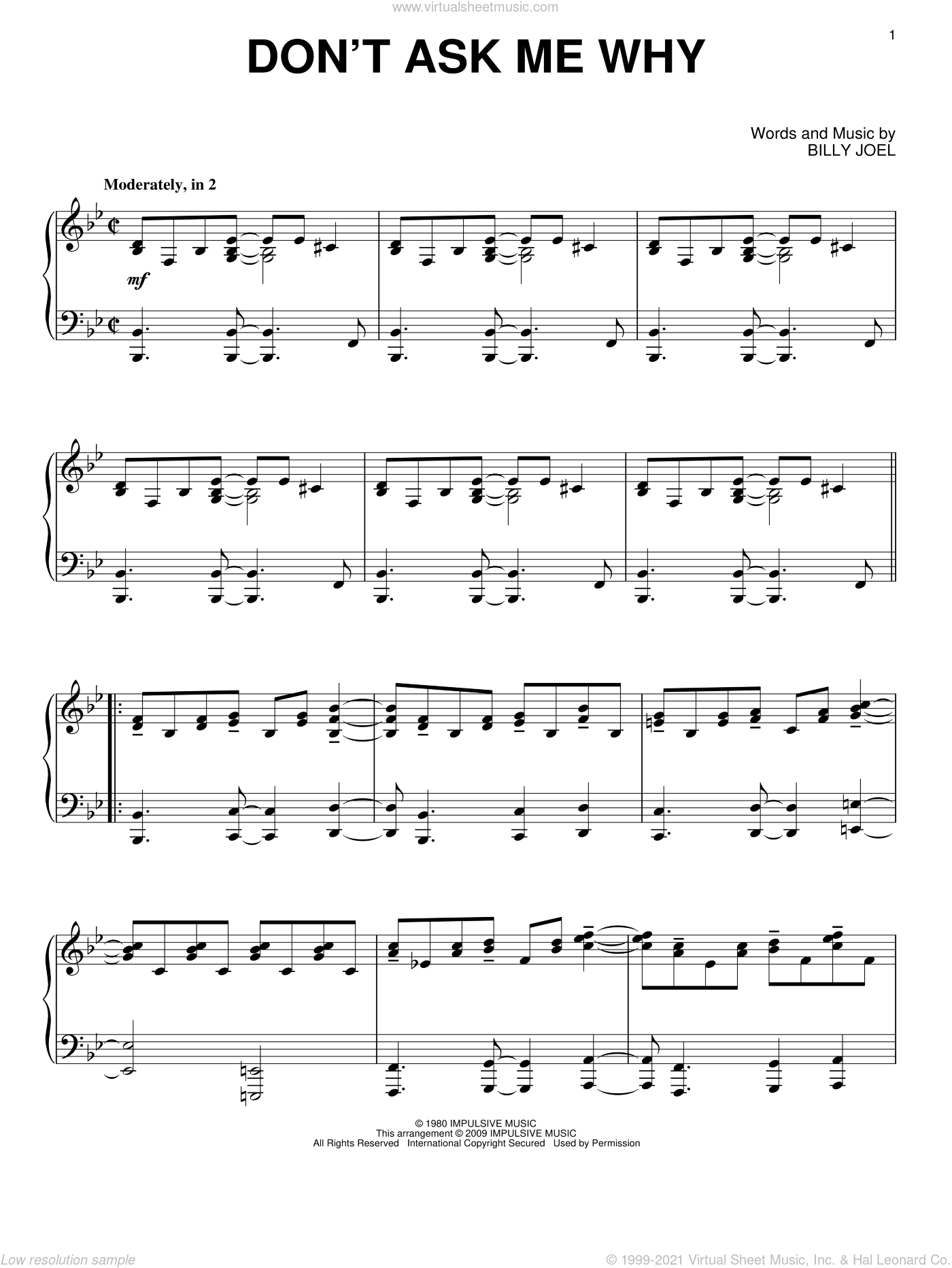Don't Ask Me Why sheet music for piano solo by Billy Joel. Score Image Preview.