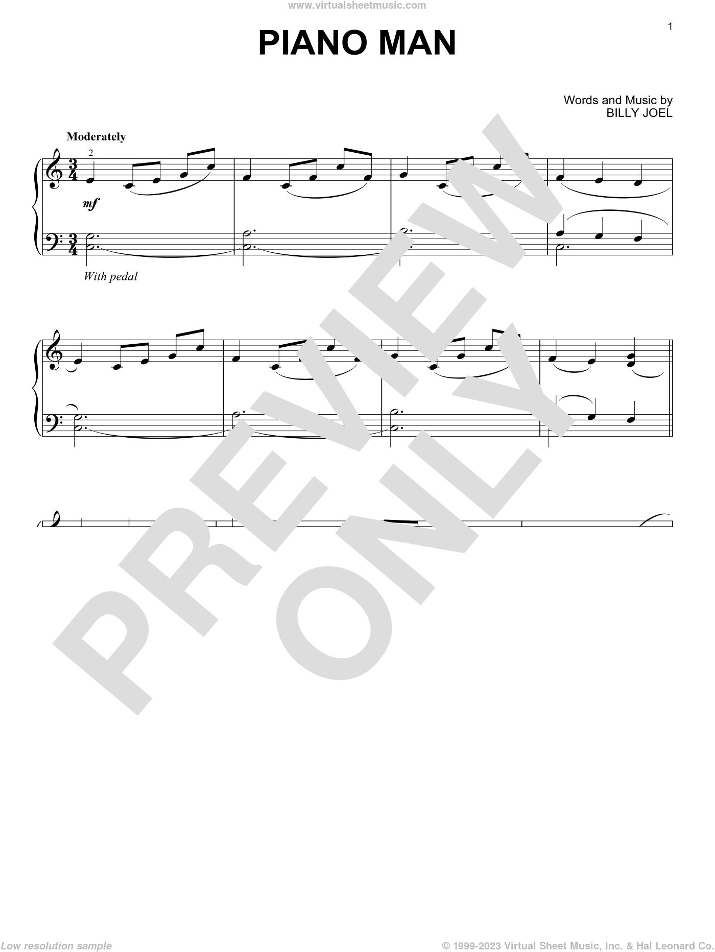 Piano Man, (intermediate) sheet music for piano solo by Billy Joel, intermediate skill level