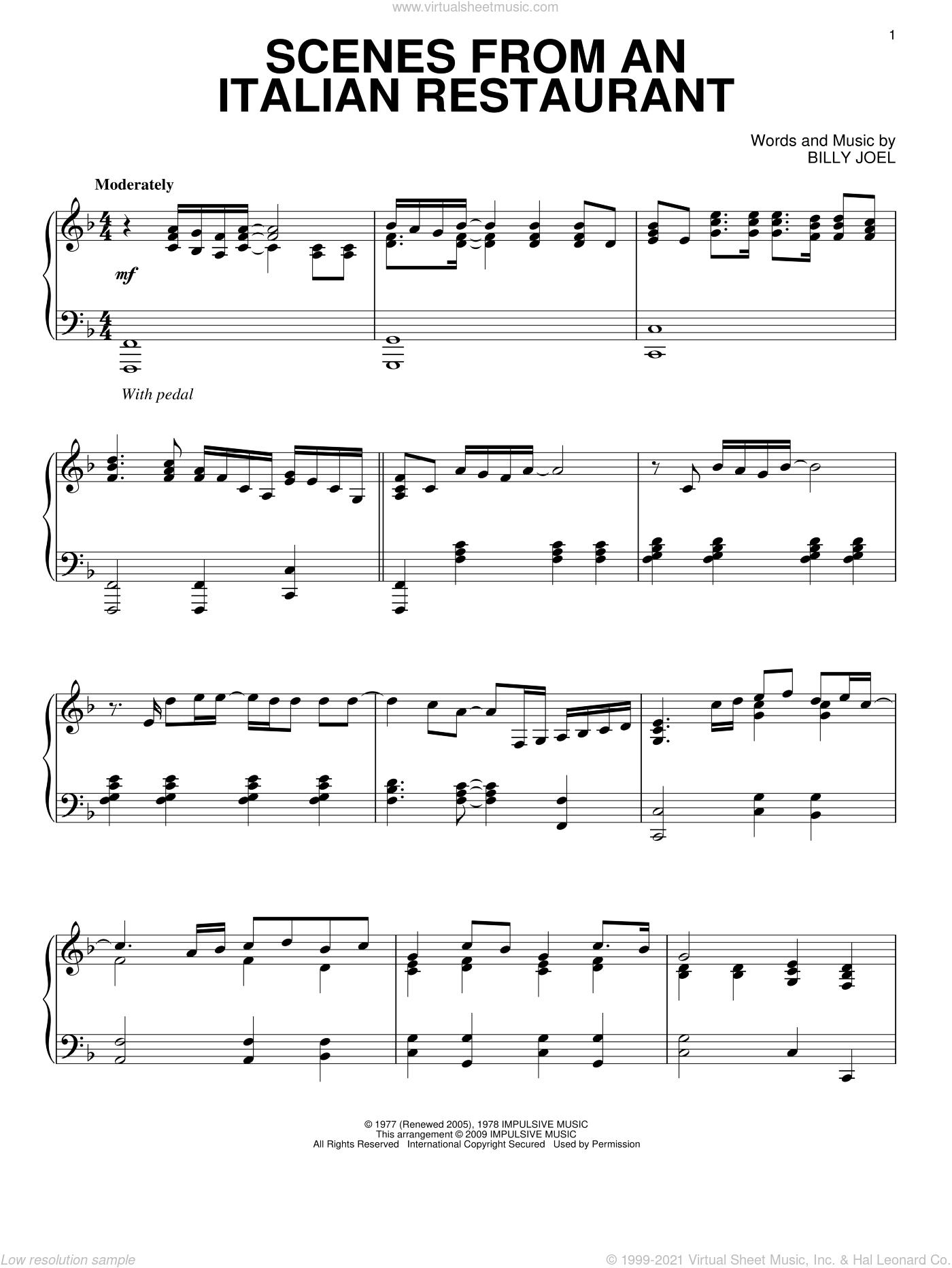 Scenes From An Italian Restaurant sheet music for piano solo by Billy Joel, intermediate skill level