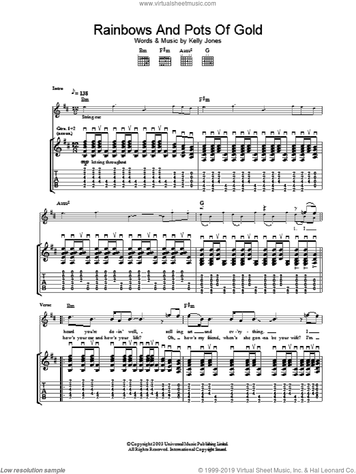 Rainbows And Pots Of Gold sheet music for guitar (tablature) by Stereophonics. Score Image Preview.