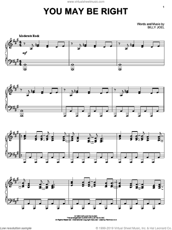 You May Be Right sheet music for piano solo by Billy Joel, intermediate piano. Score Image Preview.