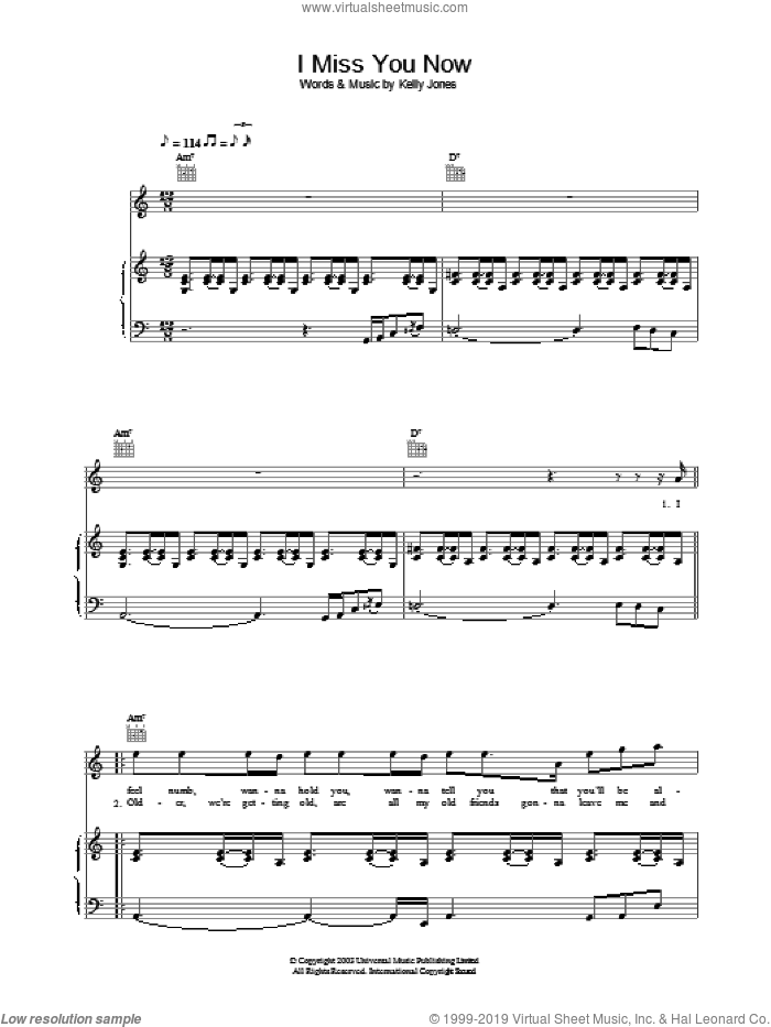 I Miss You Now sheet music for voice, piano or guitar by Stereophonics