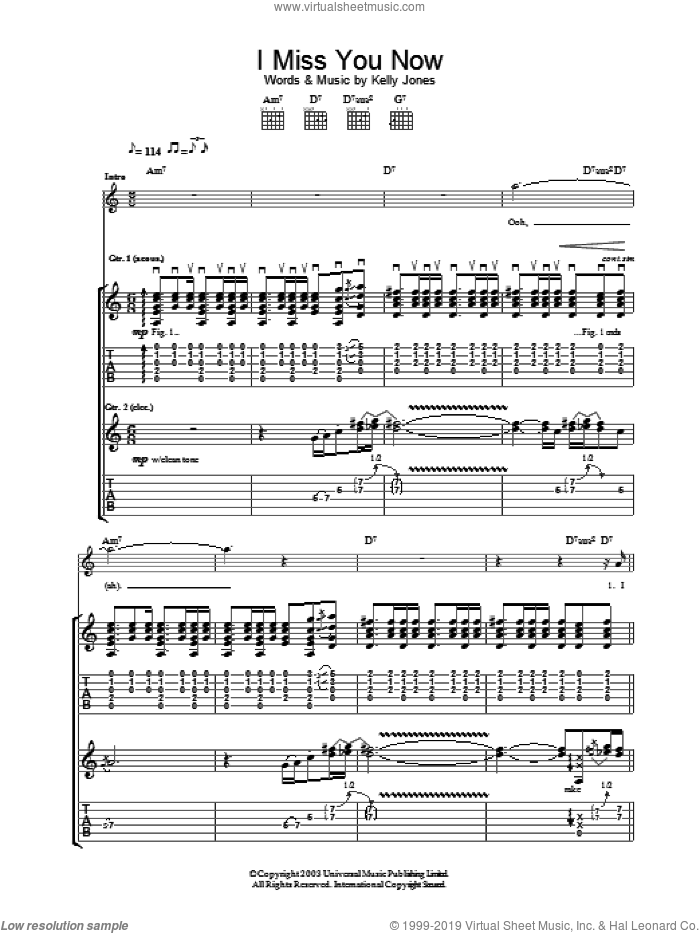 I Miss You Now sheet music for guitar (tablature) by Stereophonics, intermediate skill level