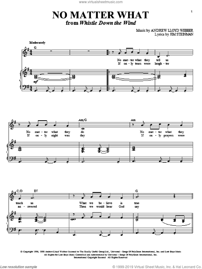 No Matter What sheet music for voice and piano by Andrew Lloyd Webber, Boyzone and Jim Steinman. Score Image Preview.