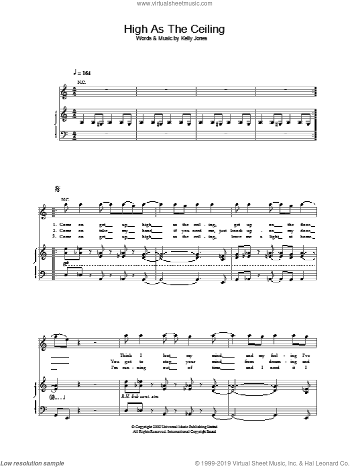 High As The Ceiling sheet music for voice, piano or guitar by Stereophonics