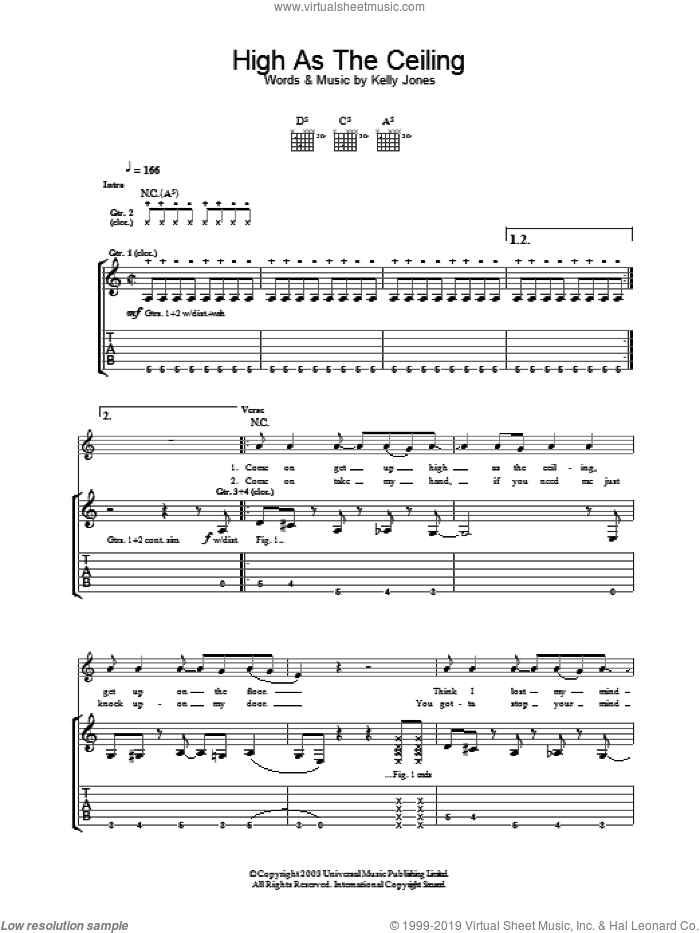 High As The Ceiling sheet music for guitar (tablature) by Stereophonics, intermediate skill level
