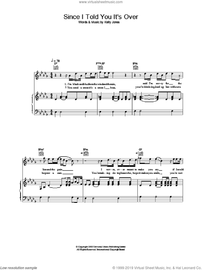 Since I Told You It's Over sheet music for voice, piano or guitar by Stereophonics. Score Image Preview.