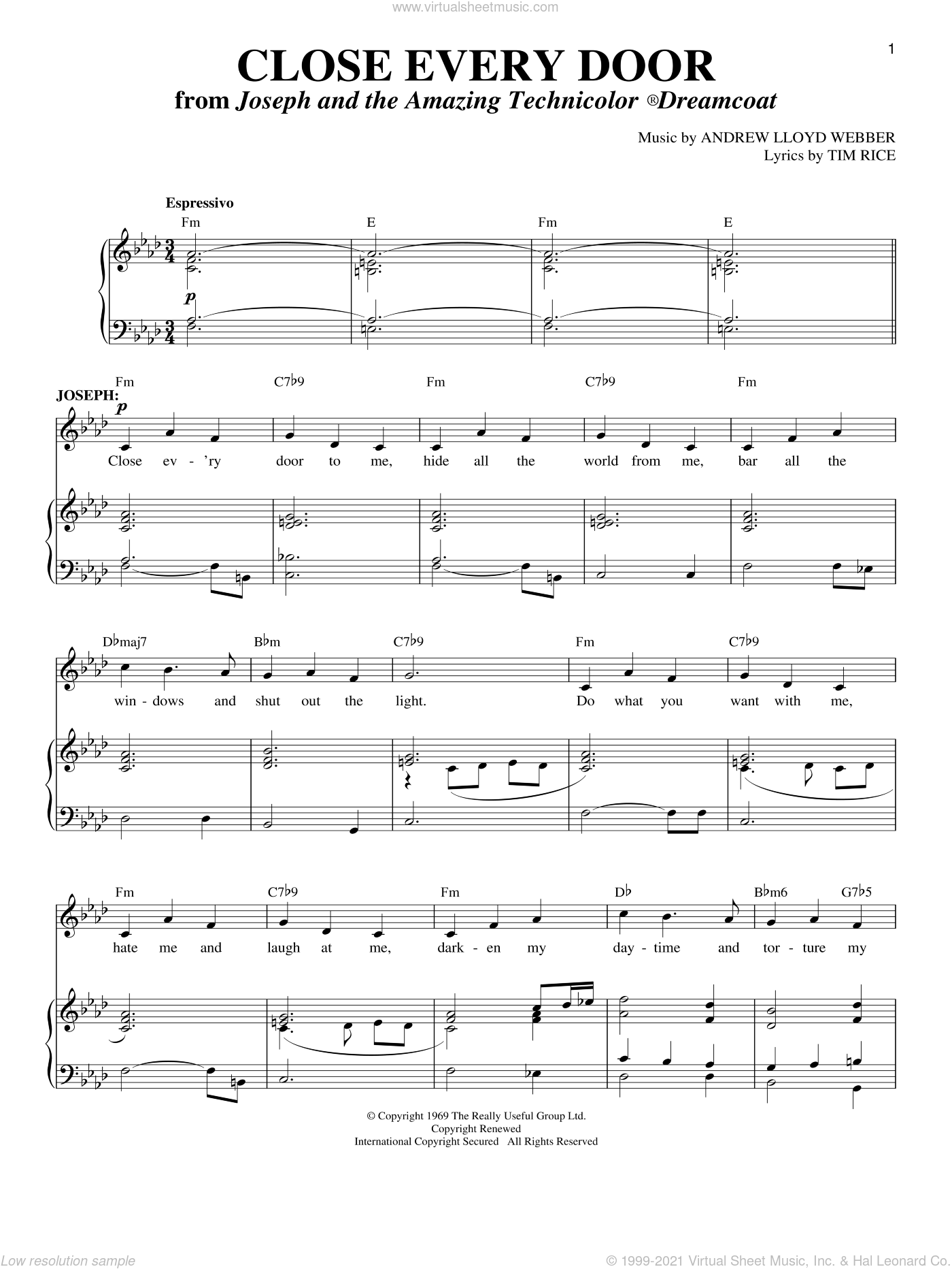 Close Every Door sheet music for voice and piano by Andrew Lloyd Webber, Joseph And The Amazing Technicolor Dreamcoat (Musical) and Tim Rice, intermediate skill level