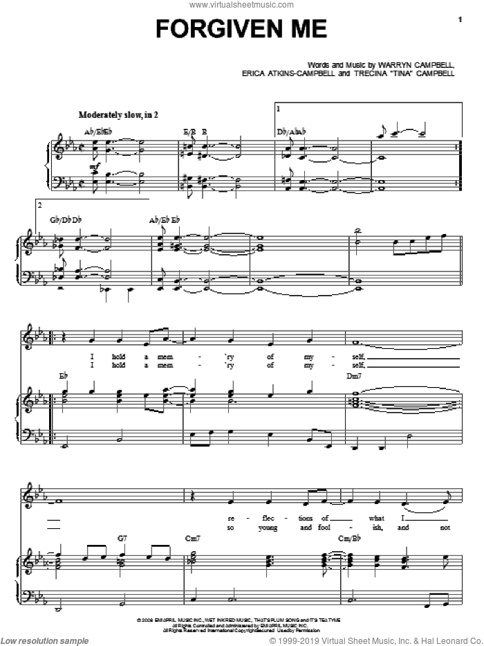 Forgiven Me sheet music for voice, piano or guitar by Mary Mary, Erica Atkins-Campbell, Trecina 'Tina' Campbell and Warryn Campbell, intermediate skill level