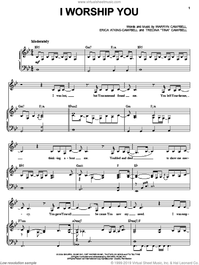 I Worship You sheet music for voice, piano or guitar by Mary Mary, intermediate. Score Image Preview.