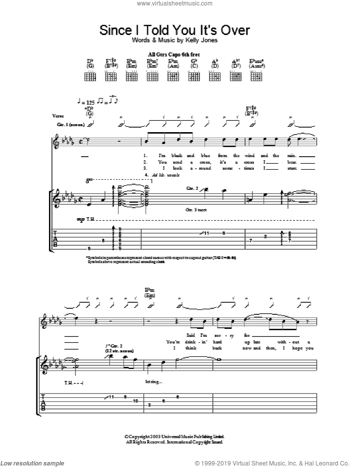Since I Told You It's Over sheet music for guitar (tablature) by Stereophonics, intermediate guitar (tablature). Score Image Preview.