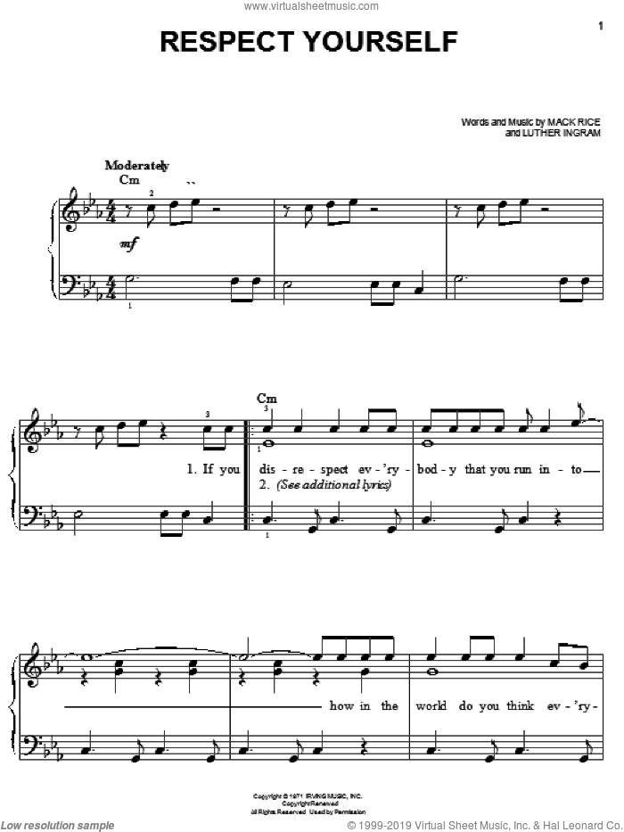 Respect Yourself sheet music for piano solo by The Staple Singers, Luther Ingram and Mack Rice, easy skill level