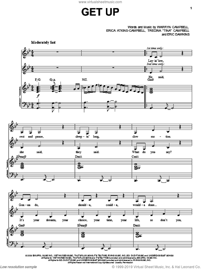 Get Up sheet music for voice, piano or guitar by Mary Mary, Eric Dawkins, Erica Atkins-Campbell, Trecina 'Tina' Campbell and Warryn Campbell, intermediate skill level