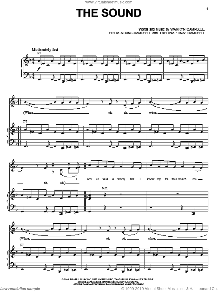 The Sound sheet music for voice, piano or guitar by Mary Mary, Erica Atkins-Campbell, Trecina 'Tina' Campbell and Warryn Campbell, intermediate skill level