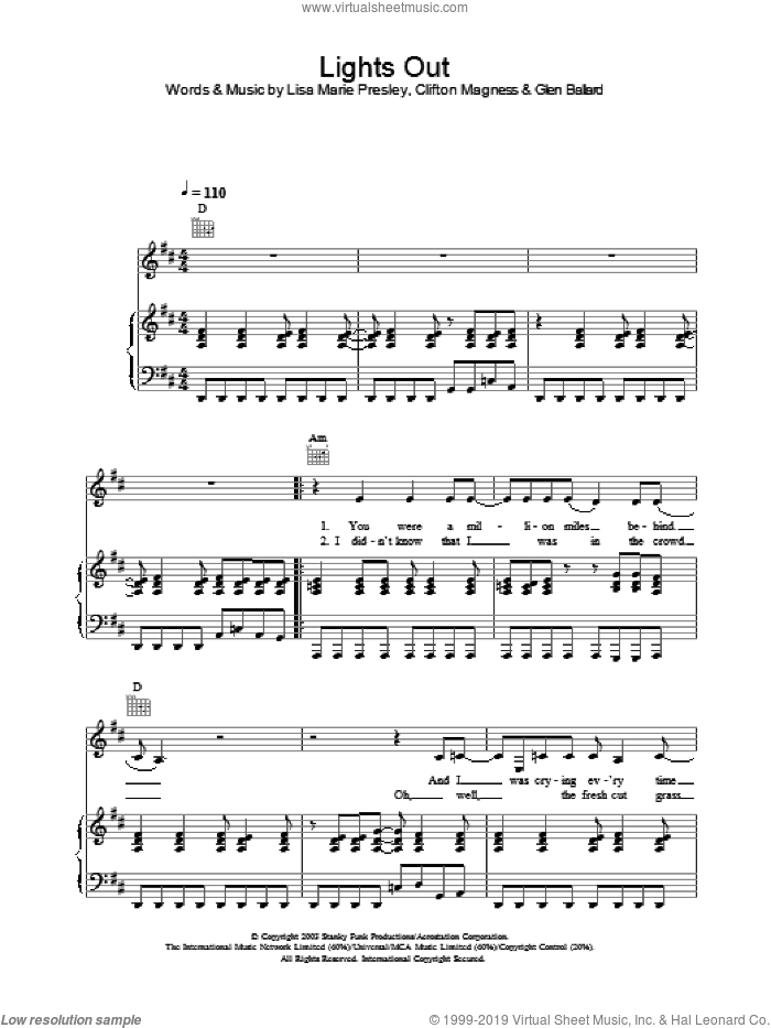 Lights Out sheet music for voice, piano or guitar by Lisa Marie Presley, intermediate voice, piano or guitar. Score Image Preview.