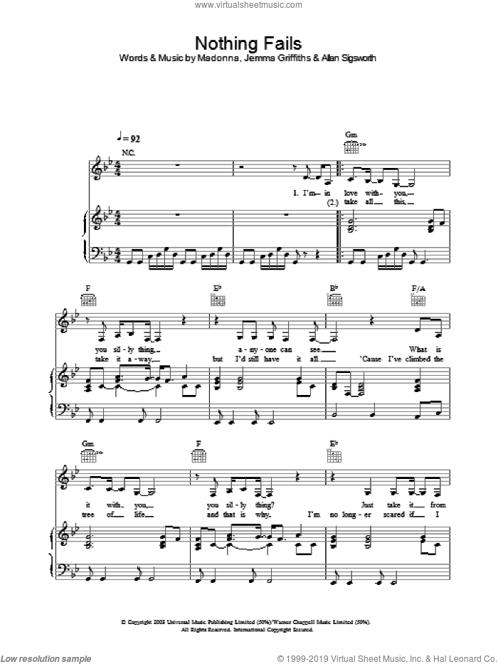 Nothing Fails sheet music for voice, piano or guitar by Madonna. Score Image Preview.