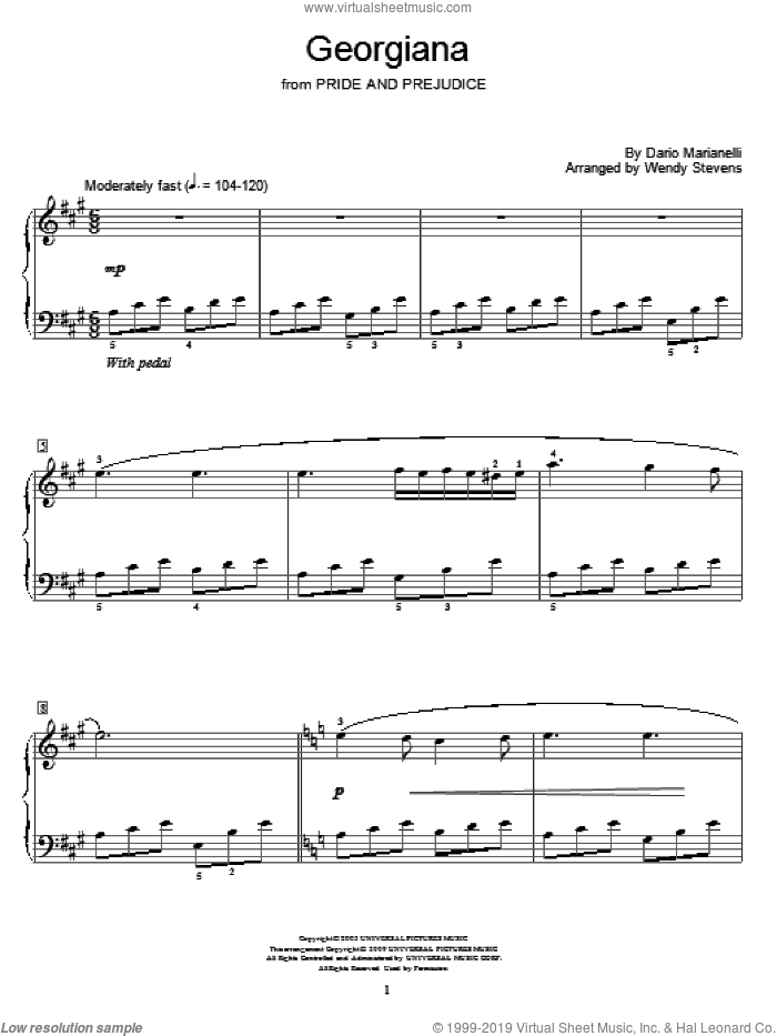 Georgiana sheet music for piano solo (elementary) by Dario Marianelli, Miscellaneous and Wendy Stevens. Score Image Preview.