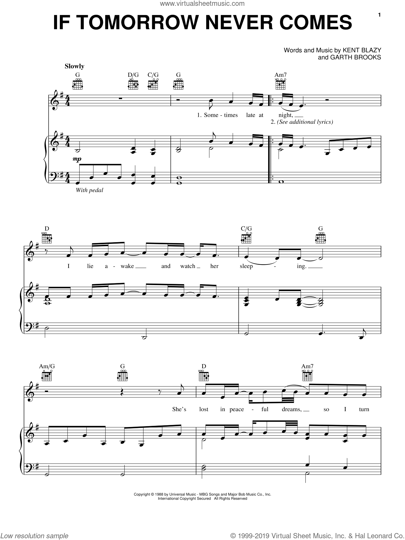 If Tomorrow Never Comes sheet music for voice, piano or guitar by Garth Brooks and Kent Blazy, intermediate. Score Image Preview.