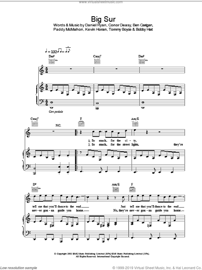 Big Sur sheet music for voice, piano or guitar by The Thrills