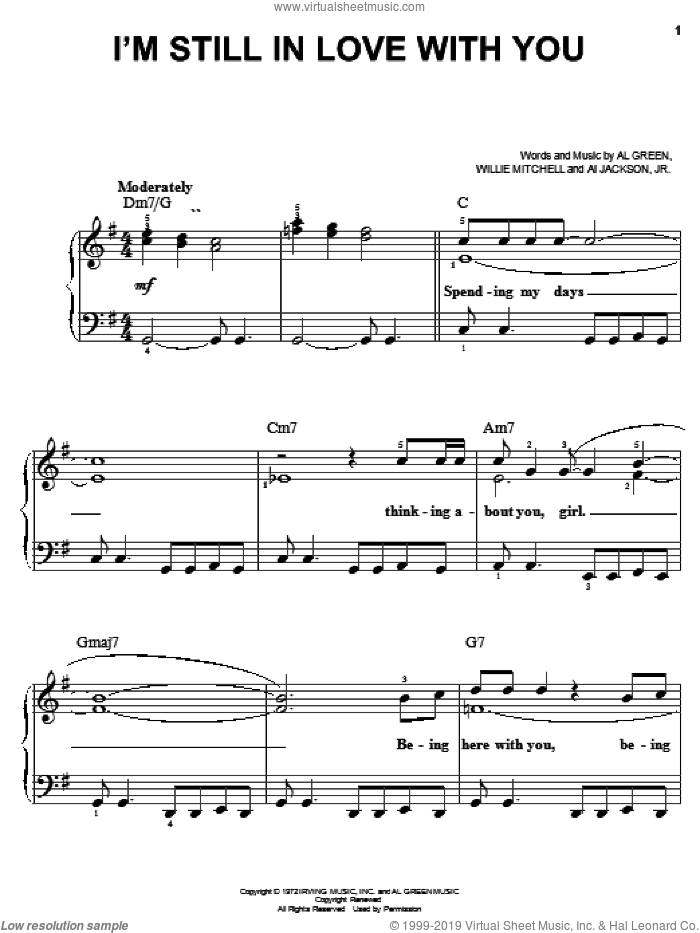 I'm Still In Love With You sheet music for piano solo by Al Green and Willie Mitchell, easy piano. Score Image Preview.