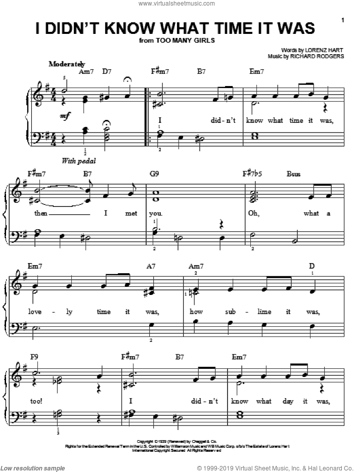 I Didn't Know What Time It Was sheet music for piano solo by Rodgers & Hart, Lorenz Hart and Richard Rodgers, easy piano. Score Image Preview.