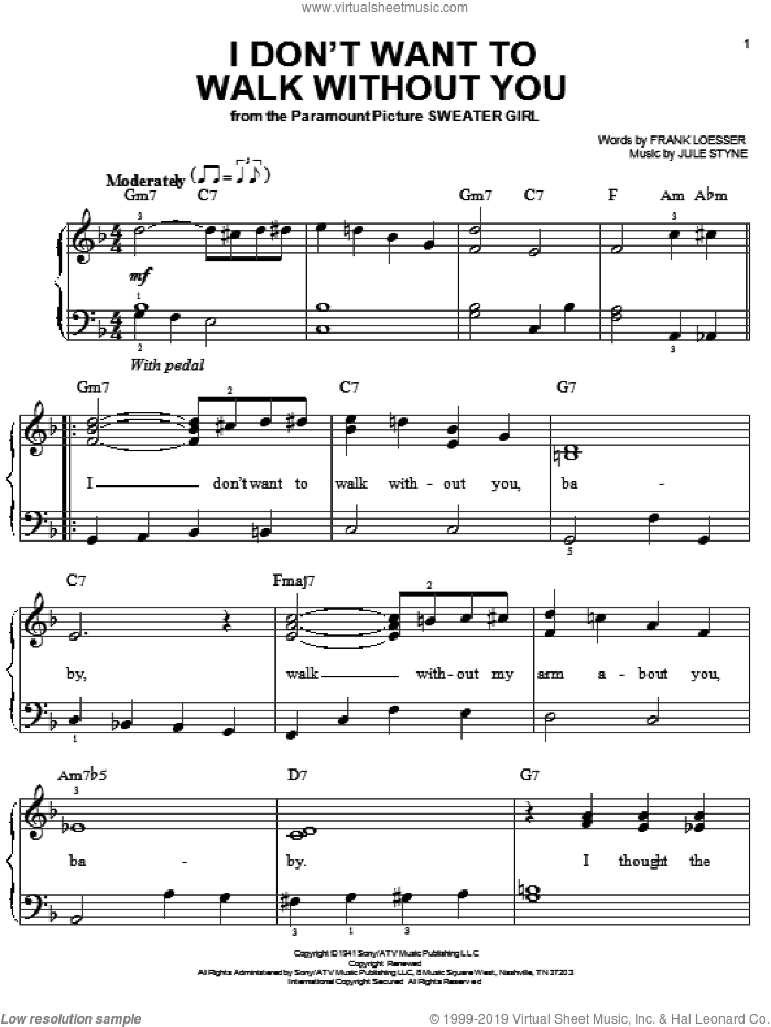 I Don't Want To Walk Without You sheet music for piano solo by Frank Loesser and Jule Styne, wedding score, easy skill level