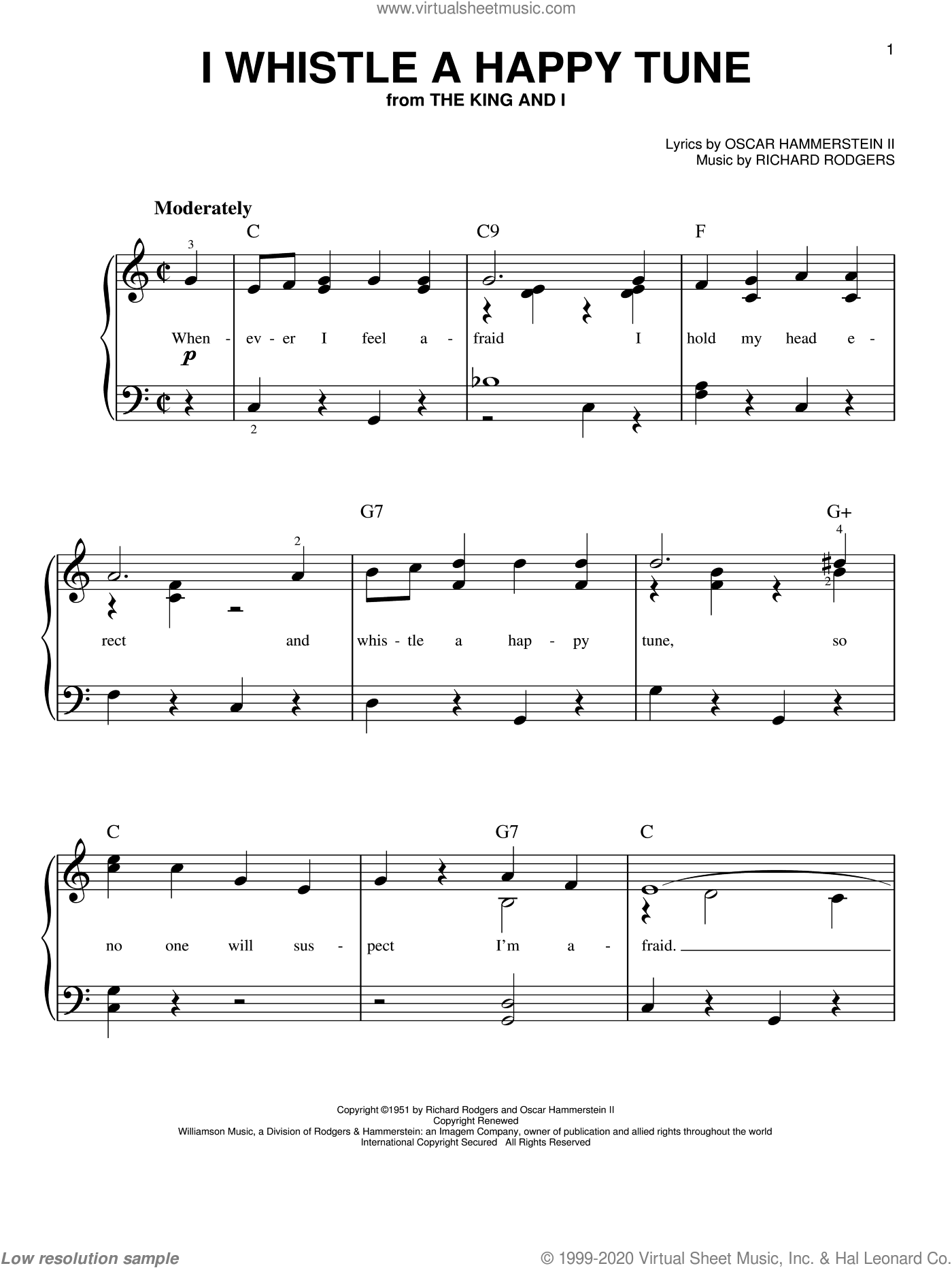 I Whistle A Happy Tune, (easy) sheet music for piano solo by Rodgers & Hammerstein, The King And I (Musical), Oscar II Hammerstein and Richard Rodgers, easy skill level