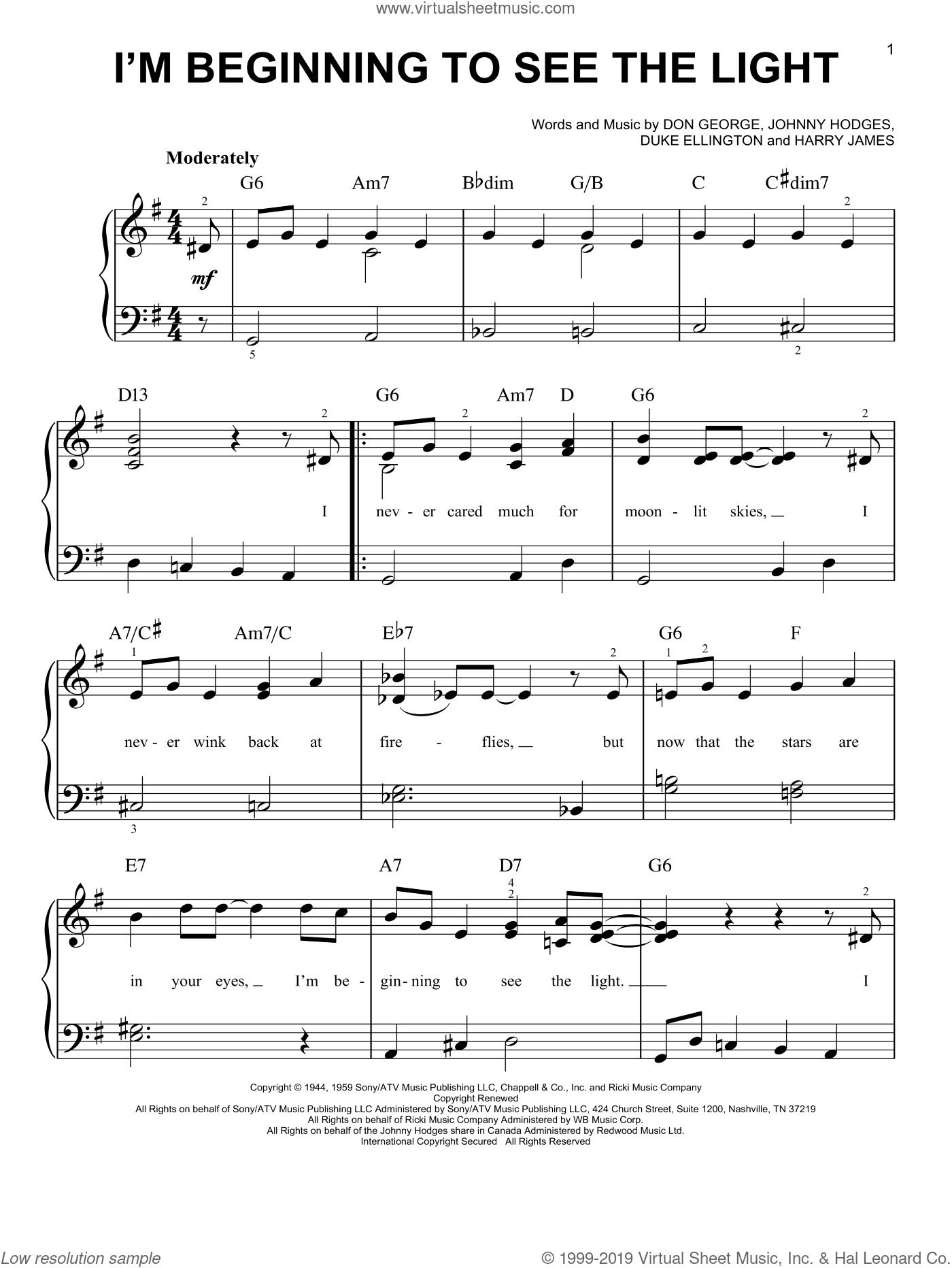 I'm Beginning To See The Light sheet music for piano solo by Duke Ellington, Don George, Harry James and Johnny Hodges, easy skill level