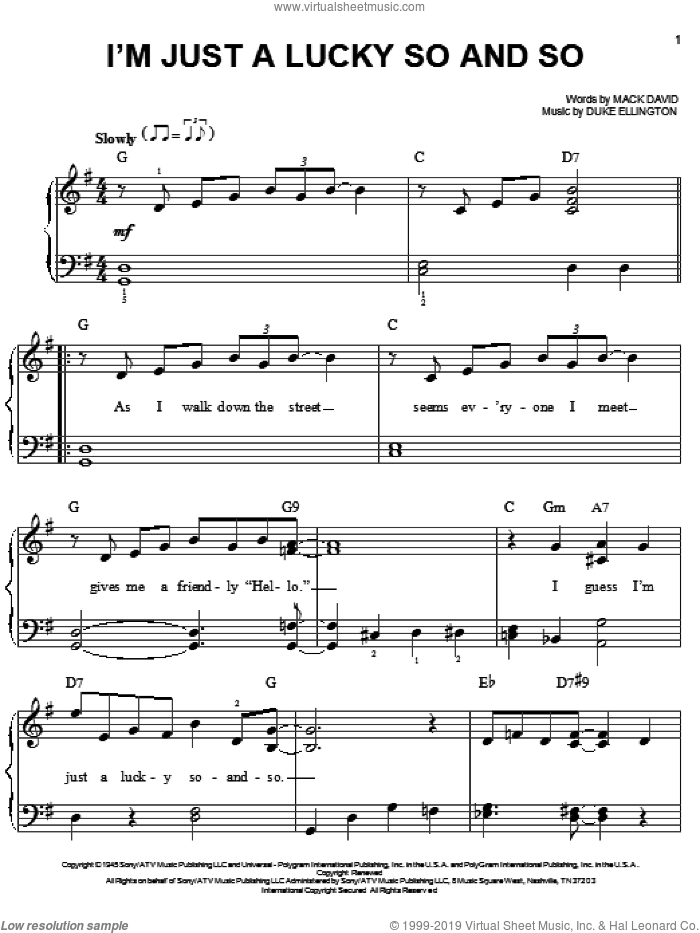 I'm Just A Lucky So And So sheet music for piano solo (chords) by Mack David
