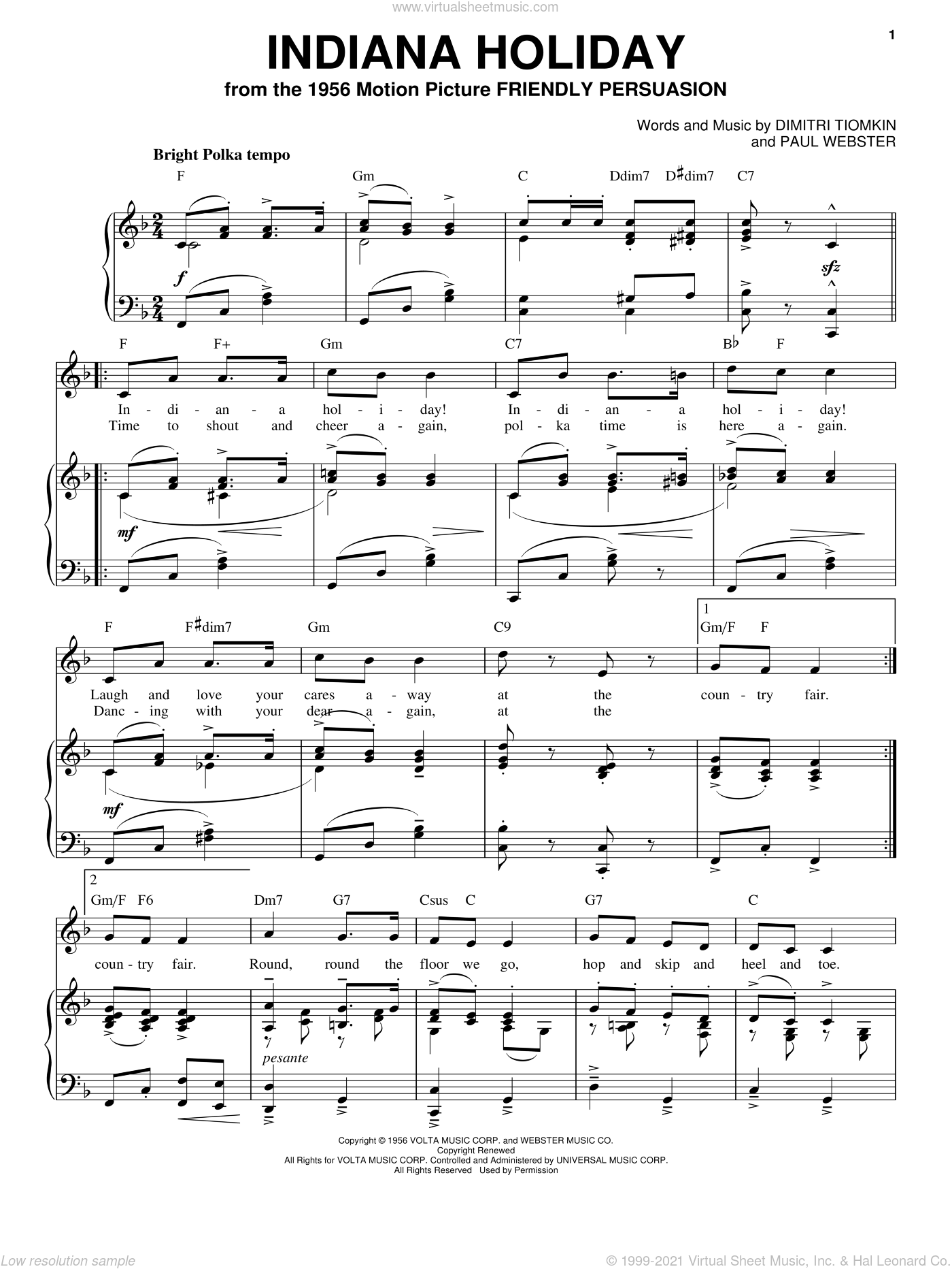 Indiana Holiday sheet music for voice, piano or guitar by Dimitri Tiomkin and Paul Francis Webster, intermediate skill level