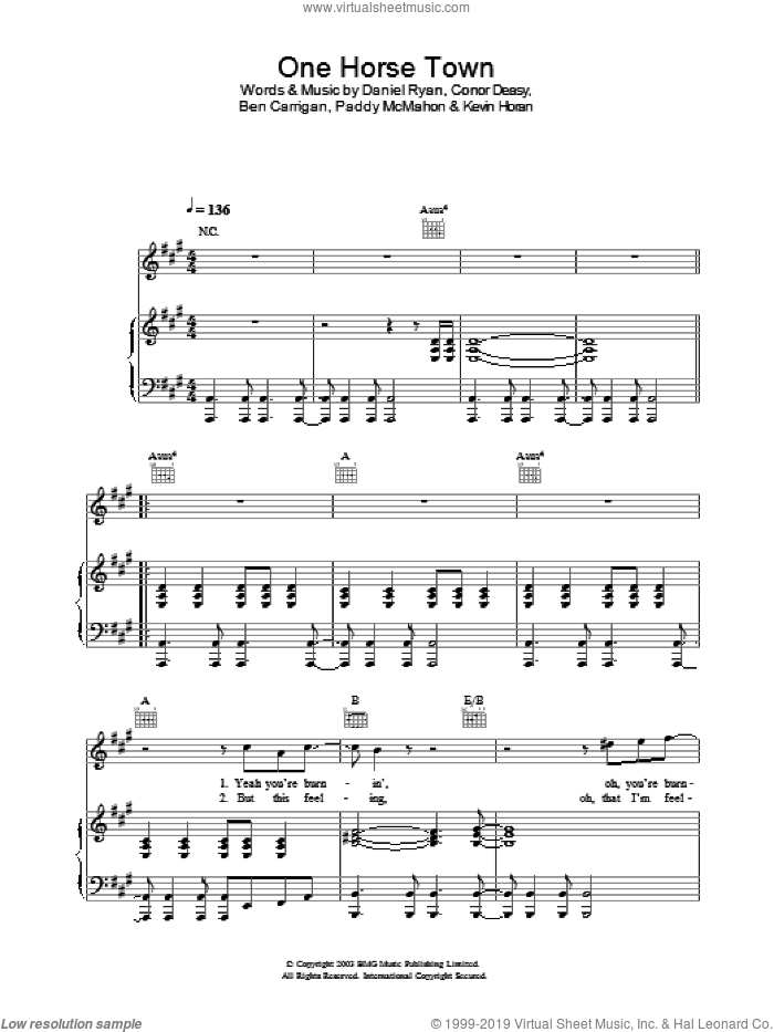 One Horse Town sheet music for voice, piano or guitar by The Thrills, intermediate skill level