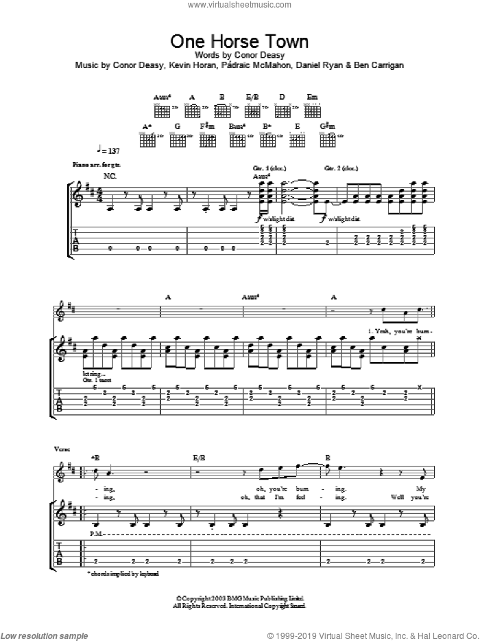One Horse Town sheet music for guitar (tablature) by The Thrills, intermediate skill level