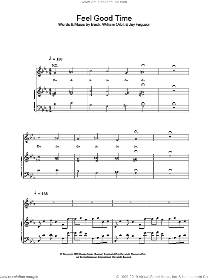 Feel Good Time sheet music for voice, piano or guitar. Score Image Preview.