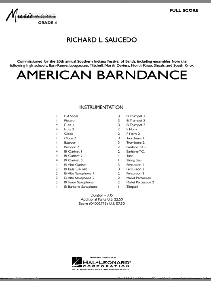 American Barndance sheet music for concert band (full score) by Richard L. Saucedo