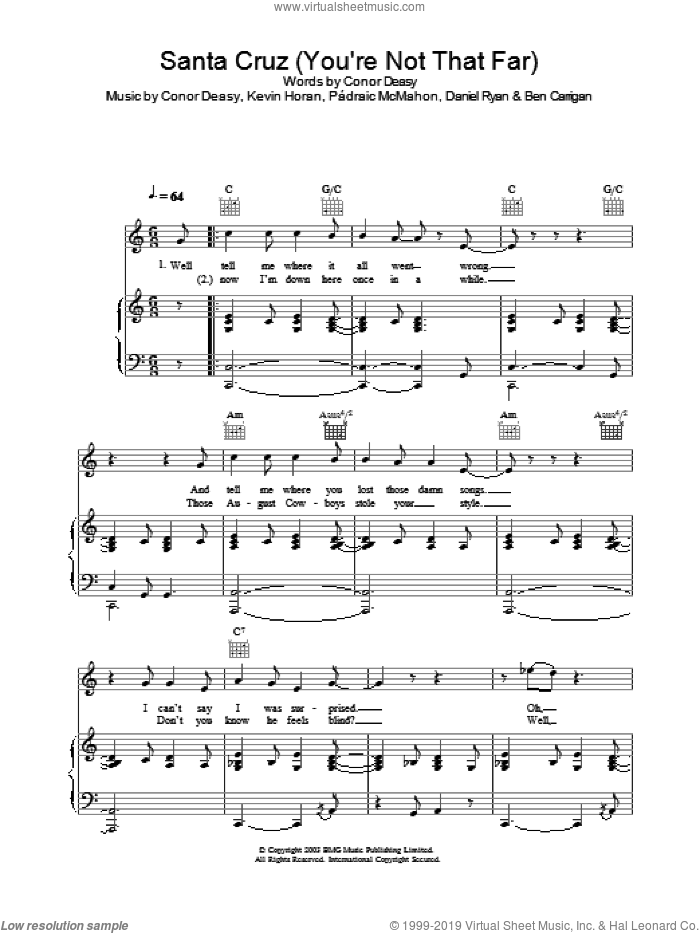 Santa Cruz (You're Not That Far) sheet music for voice, piano or guitar by The Thrills. Score Image Preview.