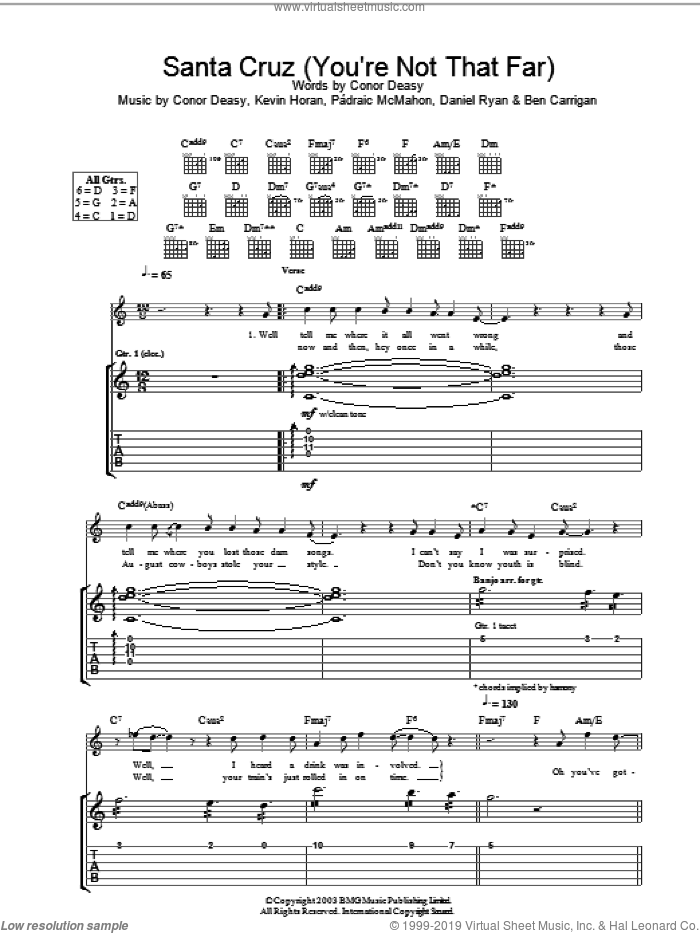 Santa Cruz (You're Not That Far) sheet music for guitar (tablature) by The Thrills. Score Image Preview.