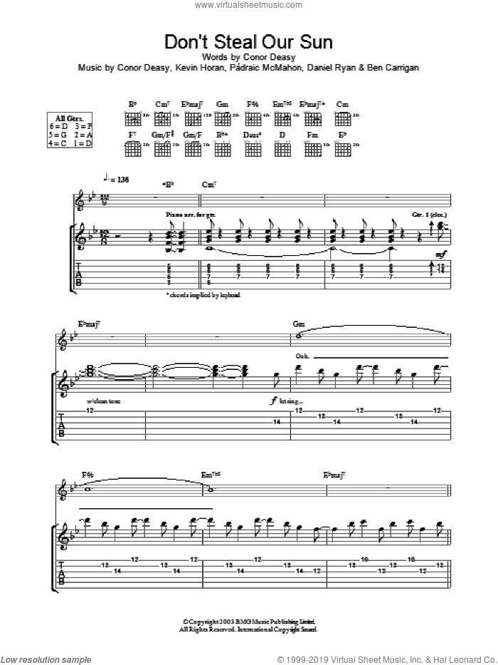 Don't Steal Our Sun sheet music for guitar (tablature) by The Thrills