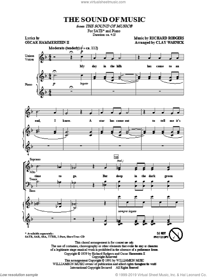 The Sound Of Music sheet music for choir (SATB) by Richard Rodgers, Oscar II Hammerstein and Clay Warnick, intermediate choir (SATB). Score Image Preview.