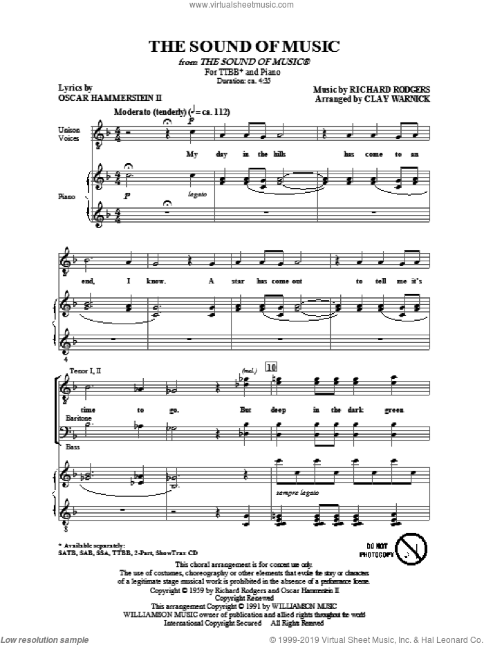 The Sound Of Music sheet music for choir (tenor voice, bass voice, choir) by Oscar II Hammerstein, Clay Warnick and Richard Rodgers. Score Image Preview.