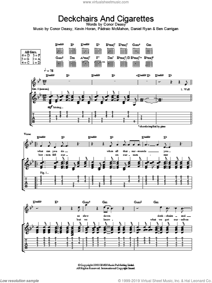Deckchairs And Cigarettes sheet music for guitar (tablature) by The Thrills