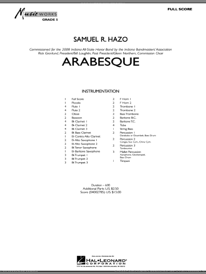 Arabesque (COMPLETE) sheet music for concert band by Samuel R. Hazo, intermediate skill level